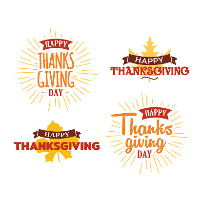 Set of happy thanksgiving day typography text with dried leave background. Autumn fall concept design. Logo, badge, sticker, icon, banner vector graphic.