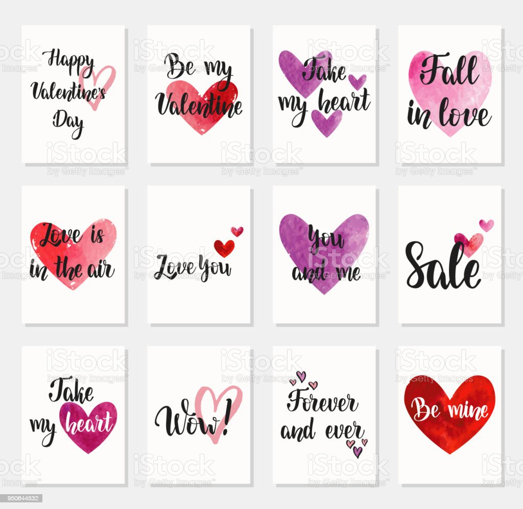 Set Of Happy Valentines Day Greeting Cards Stock Vector Art More
