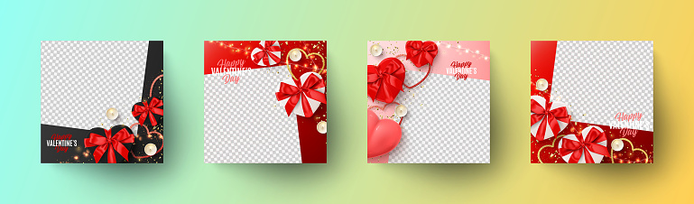 Set of Happy Valentine's Day holiday banners