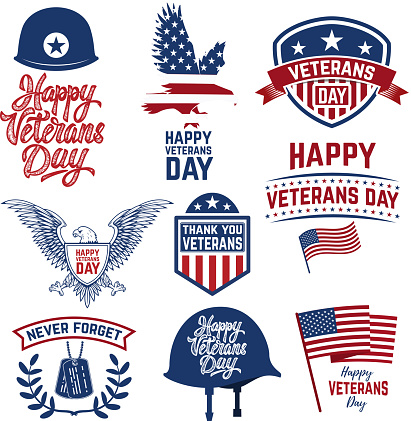 Set of Happy Veterans Day emblems. Emblems with american flags.