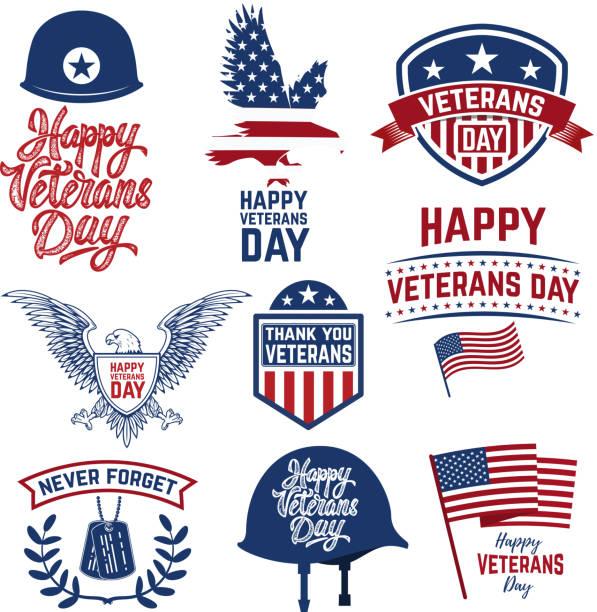 illustrations, cliparts, dessins animés et icônes de ensemble des emblèmes heureux jour des anciens combattants. emblèmes des drapeaux américains. - badge drapeaux