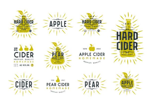 Set of hard cider label and badges Set of hard cider label and badges. Graphic design with illustration in linocut style linocut stock illustrations