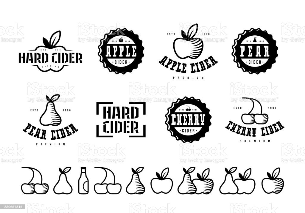 Satz von Apfelwein Beschriftung und Symbole – Vektorgrafik