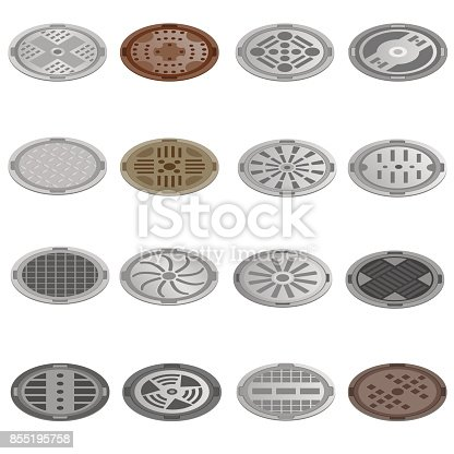 road hatch isometric icons set. Icons collection on a white background
