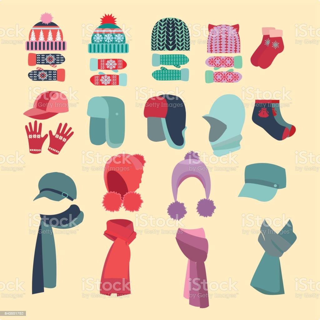 conjunto de sombreros y para niños y niñas en tiempo frío - ilustración de arte vectorial