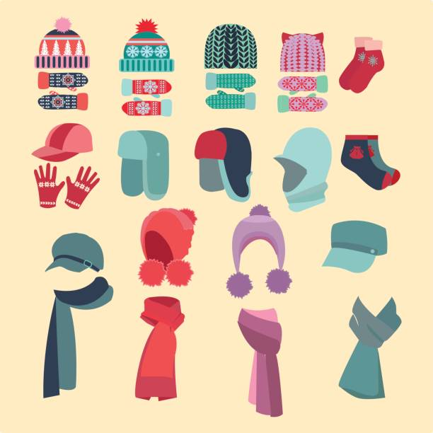 ilustrações de stock, clip art, desenhos animados e ícones de set of hats and for boys and girls in cold weather - cachecol