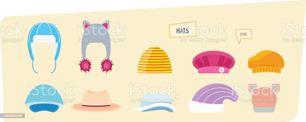 Set of hats for boys and girls in different weather vector art illustration