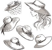 Set of hats. Girl in a hat. Fashion illustration.