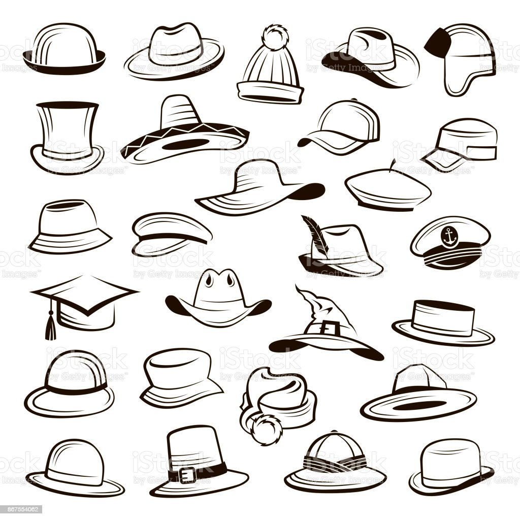 set of hats vector art illustration