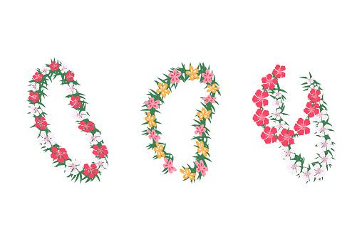 Set of Hawaiian tropical floral garlands, cartoon vector illustration isolated.