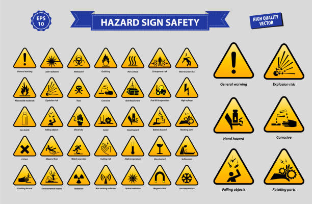 set of hazard sign safety set of hazard sign safety (general warning, laser radiation, biohazard, oxidising, flammable materials, explotion risk, toxic, corrosive, high voltage, battery hazard, cutter, high temperature) hazardous chemicals stock illustrations