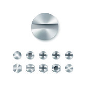 Set of head screws and bolts, nails and rivet isolated on white background. Vector illustration