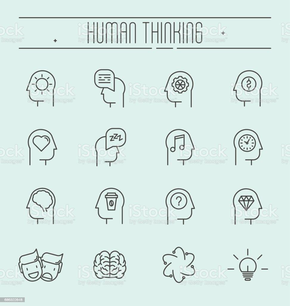 Set von Kopf denken Icons im modernen dünne Linienstil. Prozess im Kopf des Menschen. Vektor-Illustration. – Vektorgrafik