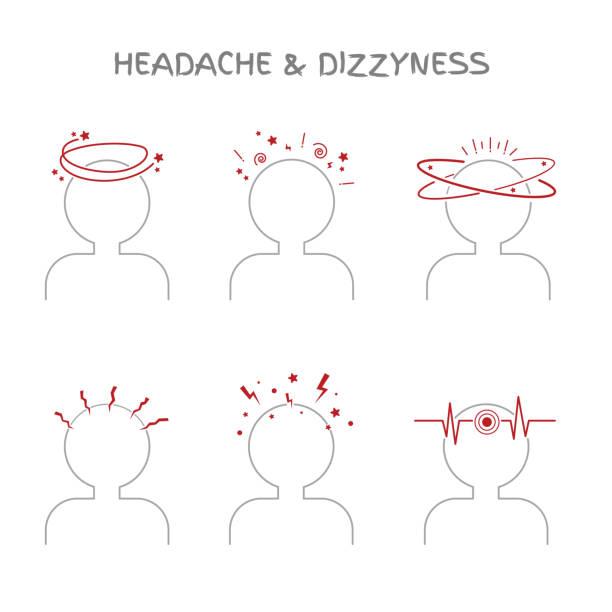 satz von kopfschmerzen und schwindel anzeichen für ärzte und medizinisches illustrationen - höhenangst stock-grafiken, -clipart, -cartoons und -symbole
