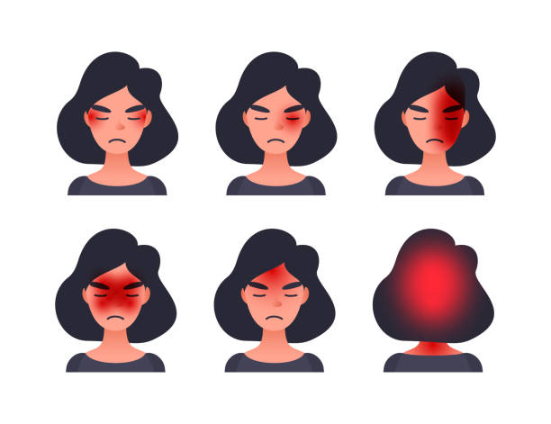 Set of headache types on different area of patient head. Woman with tession cluster and other head types of migraine. Set of headache types on different area of patient head. Woman with tession cluster and other head types of migraine headache stock illustrations