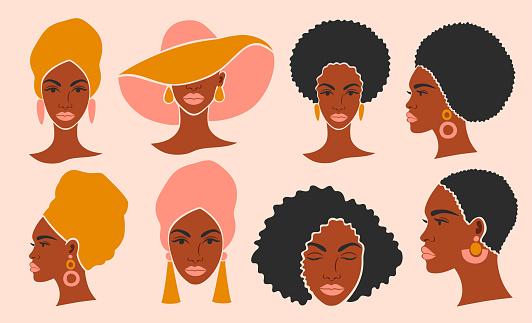 Set of heads of a beautiful black woman.