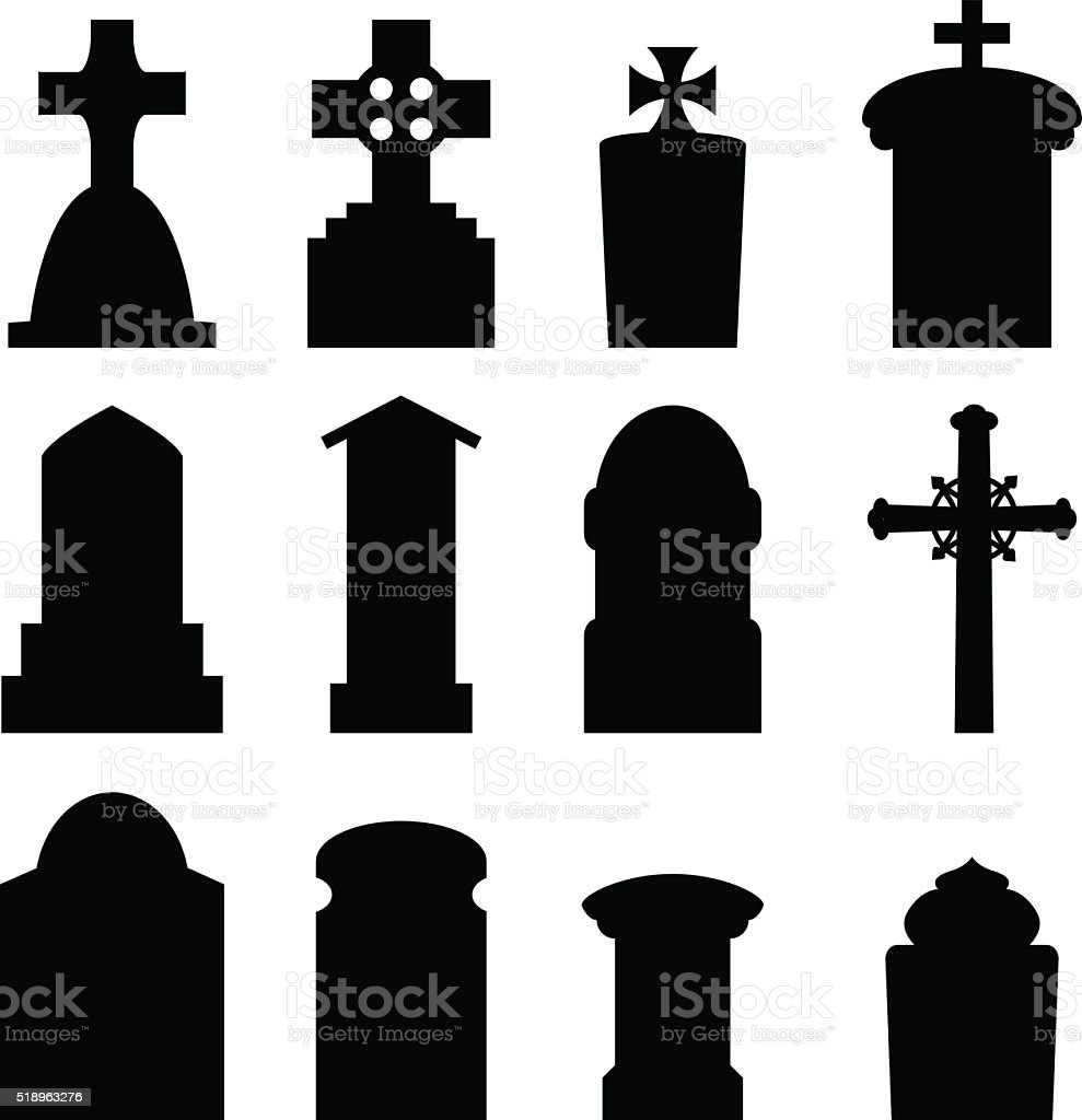 Set of headstone and tombstone in silhouette vector art illustration