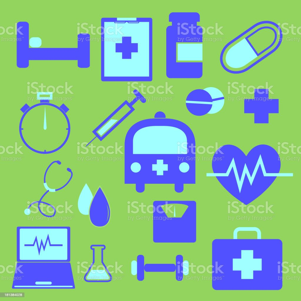 Set of health icons on green background royalty-free stock vector art