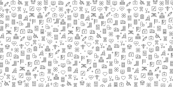 Set of Healthcare and Medical Icons Vector Pattern Design