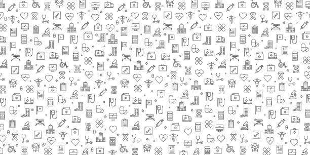 Set of Healthcare and Medical Icons Vector Pattern Design Set of Healthcare and Medical Icons Vector Pattern Design nurse stock illustrations