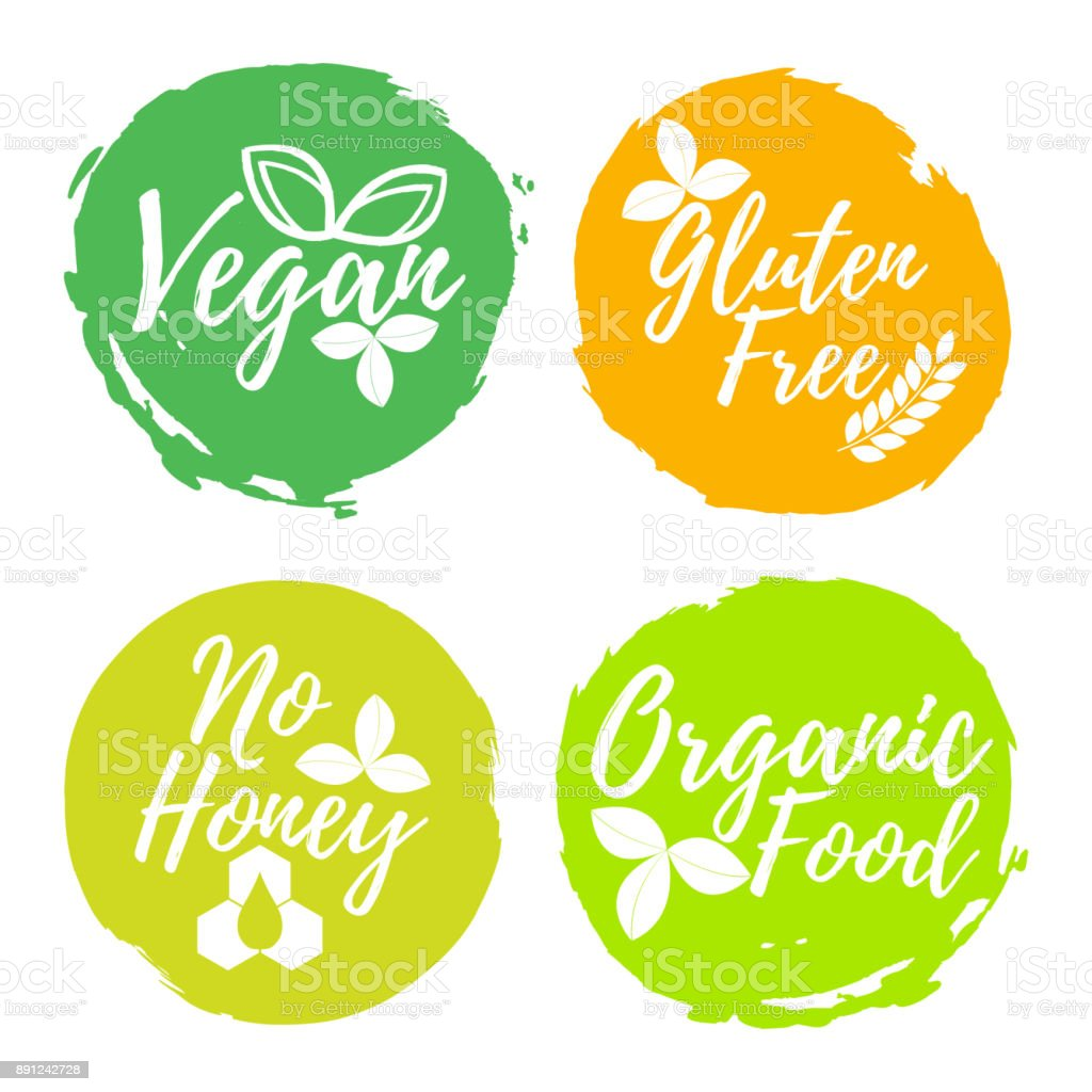 Set of Healthy and Organic Food label. Font with Brush. Food Intolerance Symbols and Badges. Vector illustration icon vector art illustration