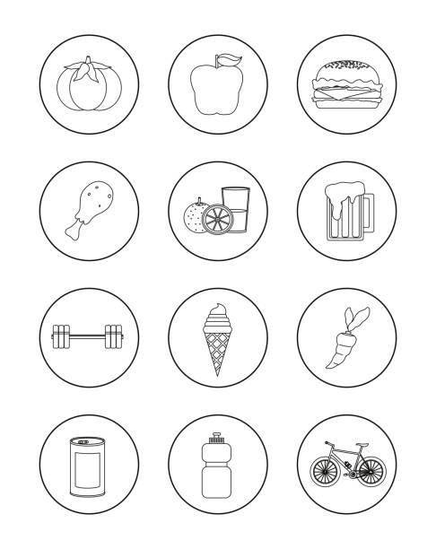 Set Of Healthy And Unhealthy Habits Icons Vector Art Illustration