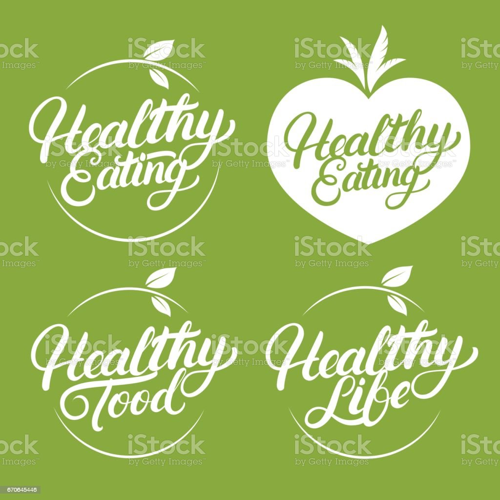 Set of Healthy eating, food, life hand written lettering label, badge, emblem. vector art illustration