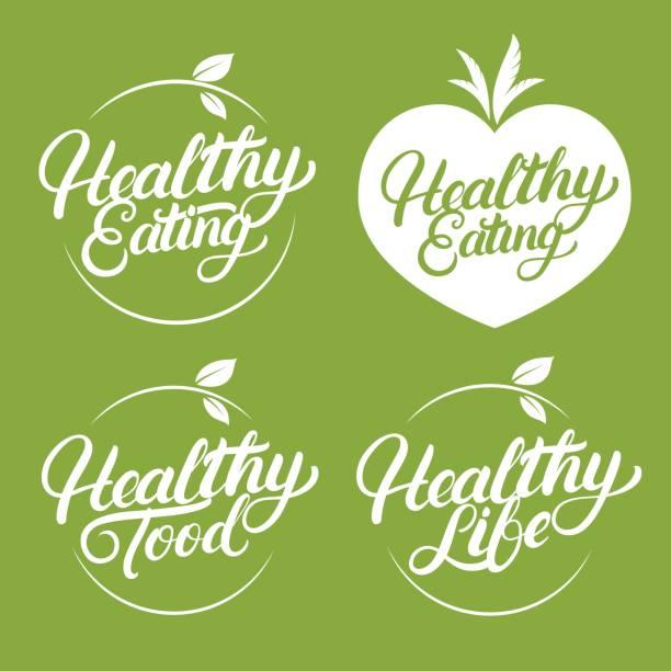건강 한 식사, 음식, 생활 손으로 작성 된 레이블, 배지, 엠 블 럼 레터링의 집합입니다. - 신선함 stock illustrations