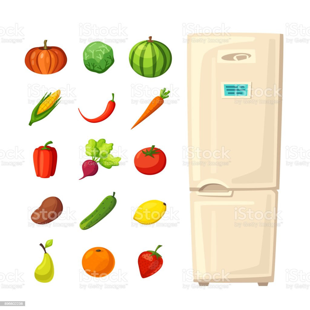 Vetores De Conjunto De Alimentos Saudaveis Na Geladeira Ilustracao