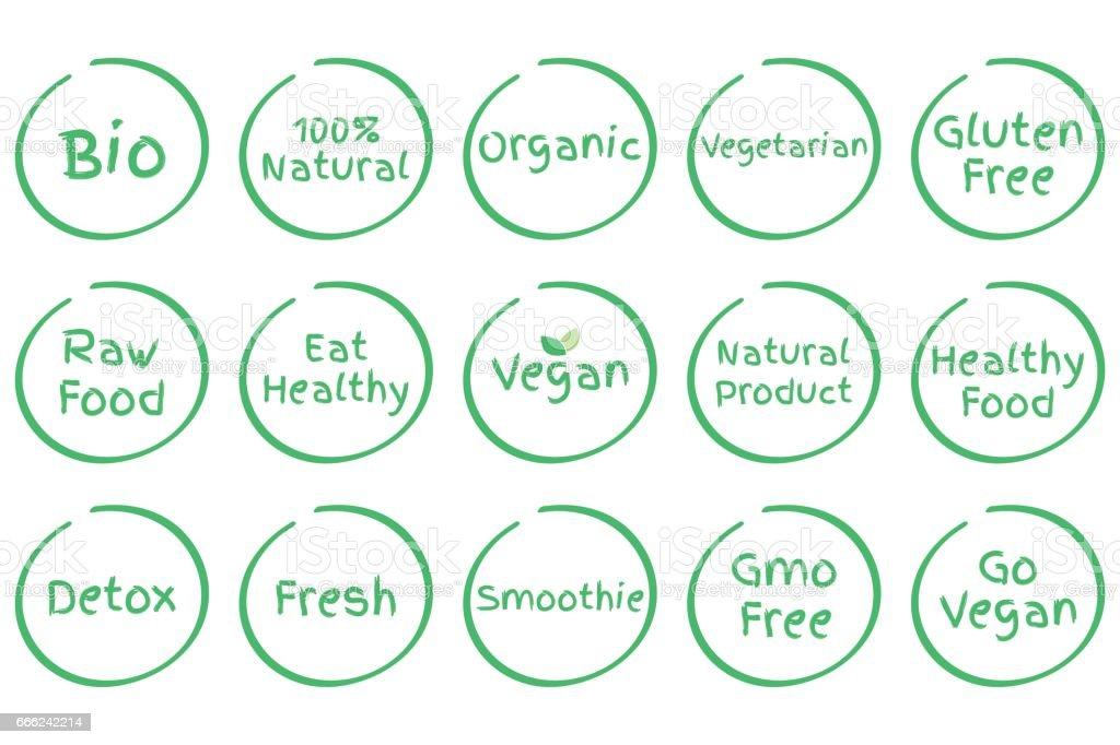 Set Of Healthy Food Symbols Vector Bio 100 Natural Organic