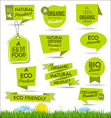 Set of healthy organic farm fresh product badges