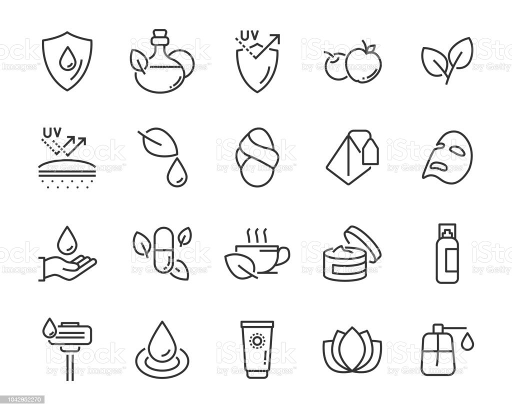 set of healthy skin care  icons, such as, mask,sun block, skin care, set of healthy skin care  icons, such as, mask,sun block, skin care, Acid stock vector