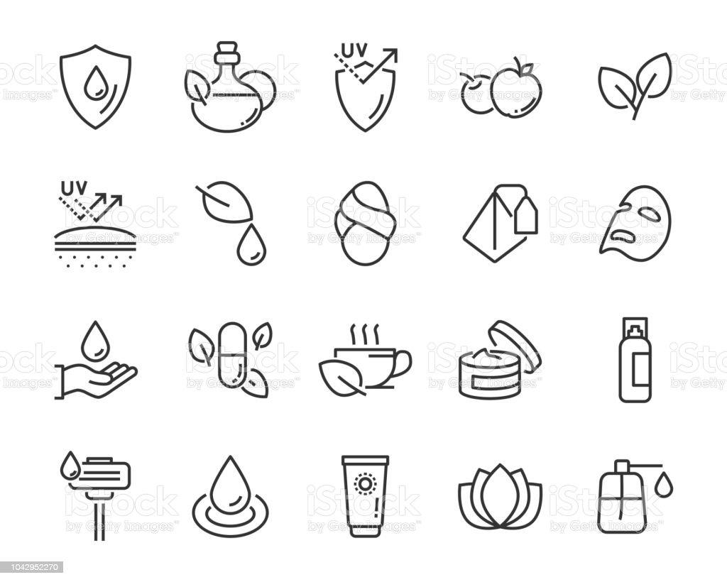 Reihe von gesunder Haut Pflege Icons, wie Maske, Sonnencreme, Hautpflege, - Lizenzfrei Abschirmen Vektorgrafik
