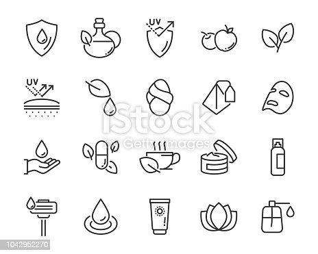 set of healthy skin care  icons, such as, mask,sun block, skin care,