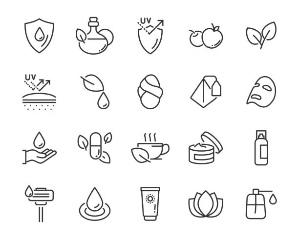 set of healthy skin care  icons, such as, mask,sun block, skin care, - wellness stock illustrations