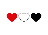 Set of heart icon. Live stream video, chat, likes. Social media icon heart shape.Thumbs up  for social media.