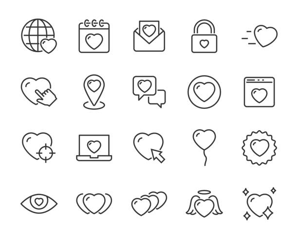 satz von herz-symbole, valentinstag, liebe, romantik - feedback stock-grafiken, -clipart, -cartoons und -symbole