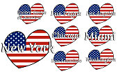 Set of heart shaped flag of The United States of America with inscription of city names: New York, Las Vegas, Los Angeles, Chicago, Miami, San Francisco, Washington . EPS10 illustration.