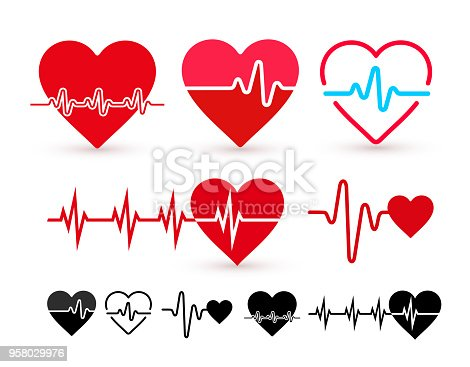 Set of Heartbeat icon, health monitor, health care. Flat design. Vector illustration. Isolated on white background