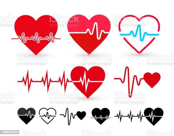 Set Of Heartbeat Icon Health Monitor Health Care Flat Design Vector Illustration Isolated On White Background - Arte vetorial de stock e mais imagens de Arte Linear
