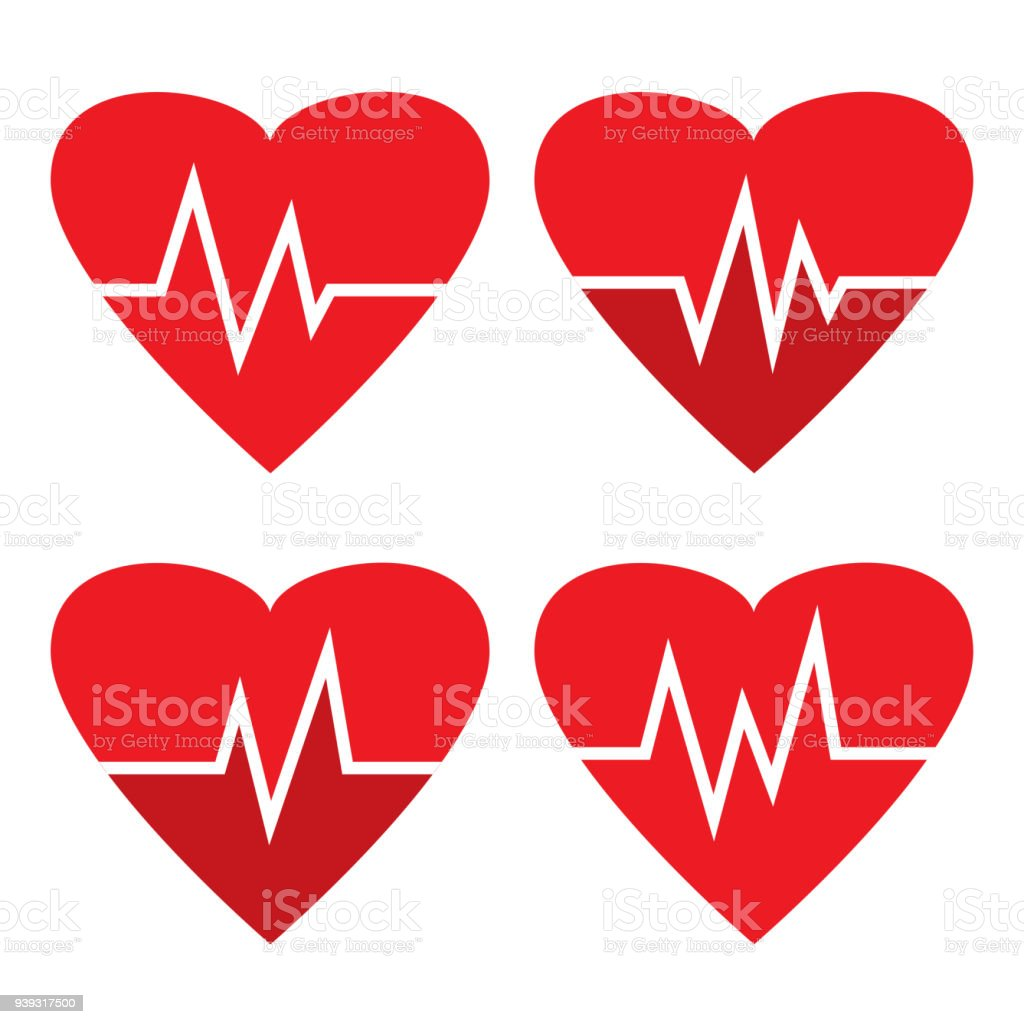 Set Of Heartbeat Icons Red Heart Different Beat Pulse Medical Symbol