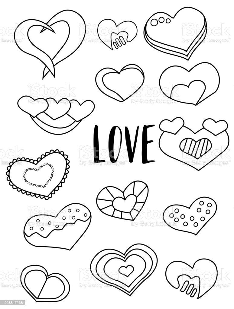 Kalpler Siyah Beyaz Cikartmalari Kumesi Sevgililer Gunu Ogeleri