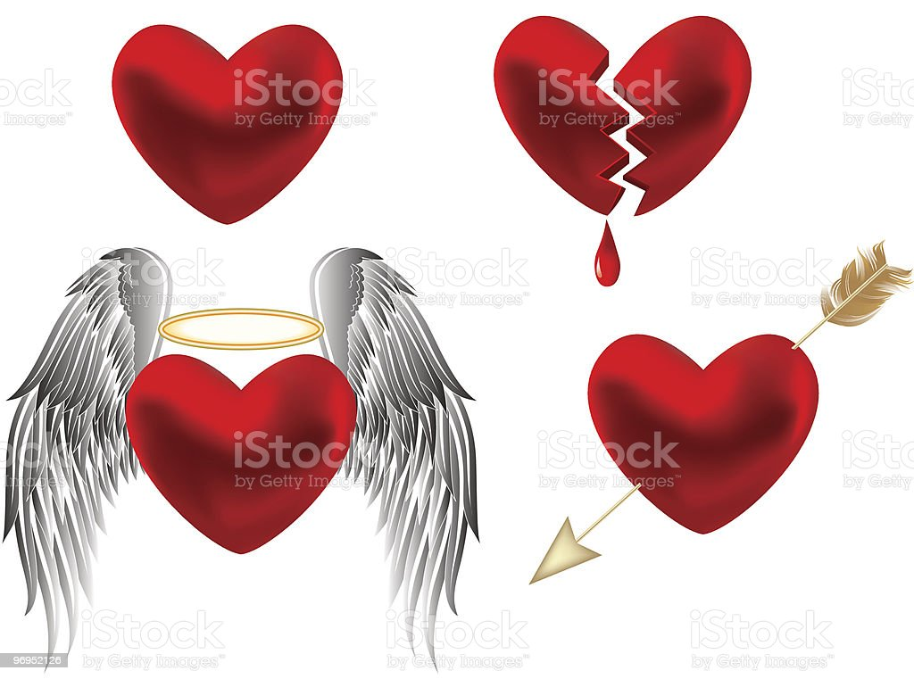 Set of hearts design. royalty-free set of hearts design stock vector art & more images of animal wing