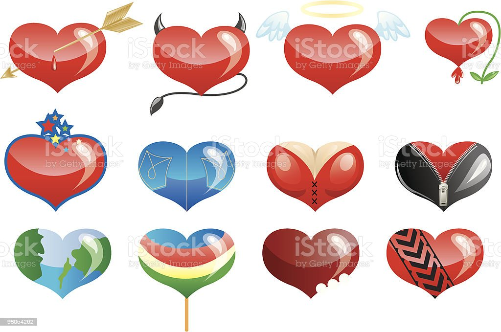 Set of hearts icons (part2) royalty-free set of hearts icons stock vector art & more images of angel