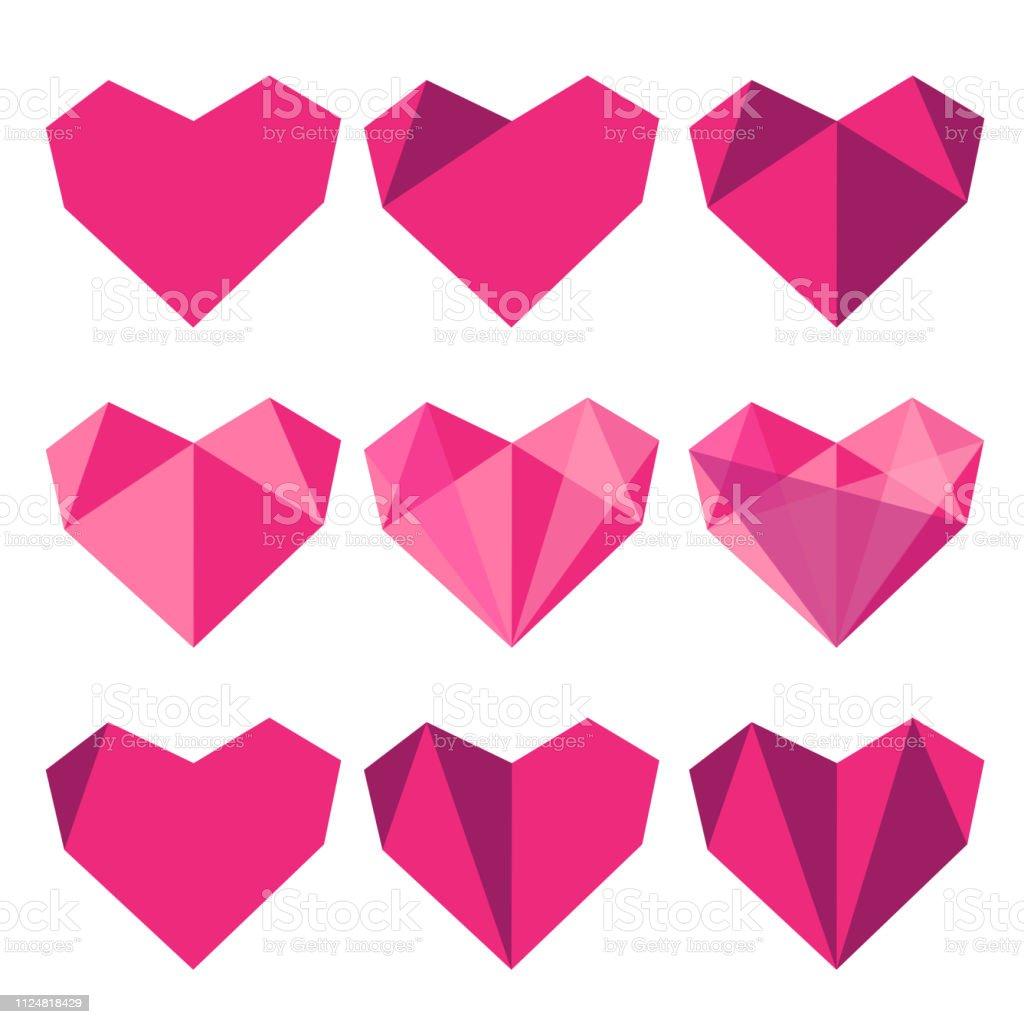 Satz Von Herz Aus Papier In Origamistil Vektorillustration Für Ihr