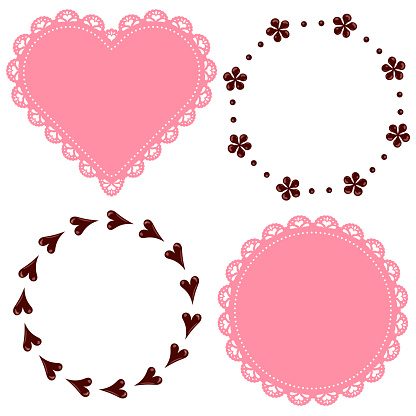 A set of heart-shaped and circular lace fabric frames and chocolate decoration frames.