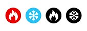 istock Set of heating and cooling icons. Hot and cold icon. Fire and snowflake sign. Heating and cooling button. Vector EPS 10. Isolated on white background 1299254821