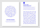 Set of Heavy and Power Industry Icons Vector Pattern Design for Brochure,Annual Report,Book Cover.