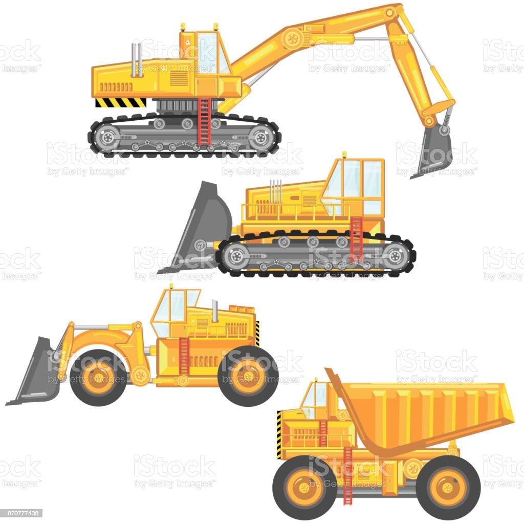 set of heavy construction machinery. vector art illustration