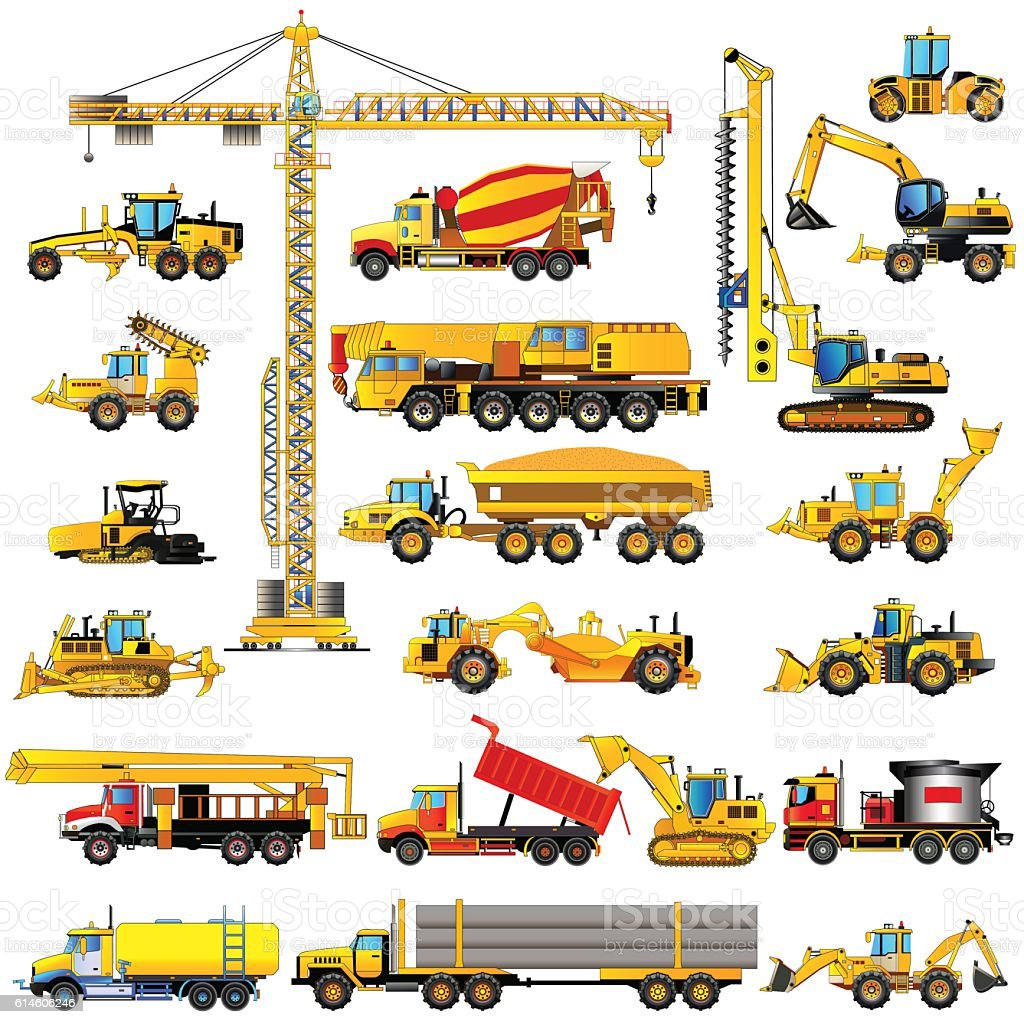 Set of heavy construction machines, icons, isolated, vector vector art illustration